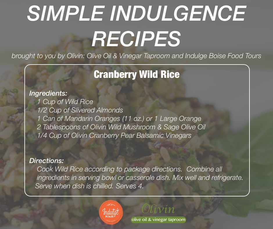 Indulge Boise Cranberry Wild Rice Recipe