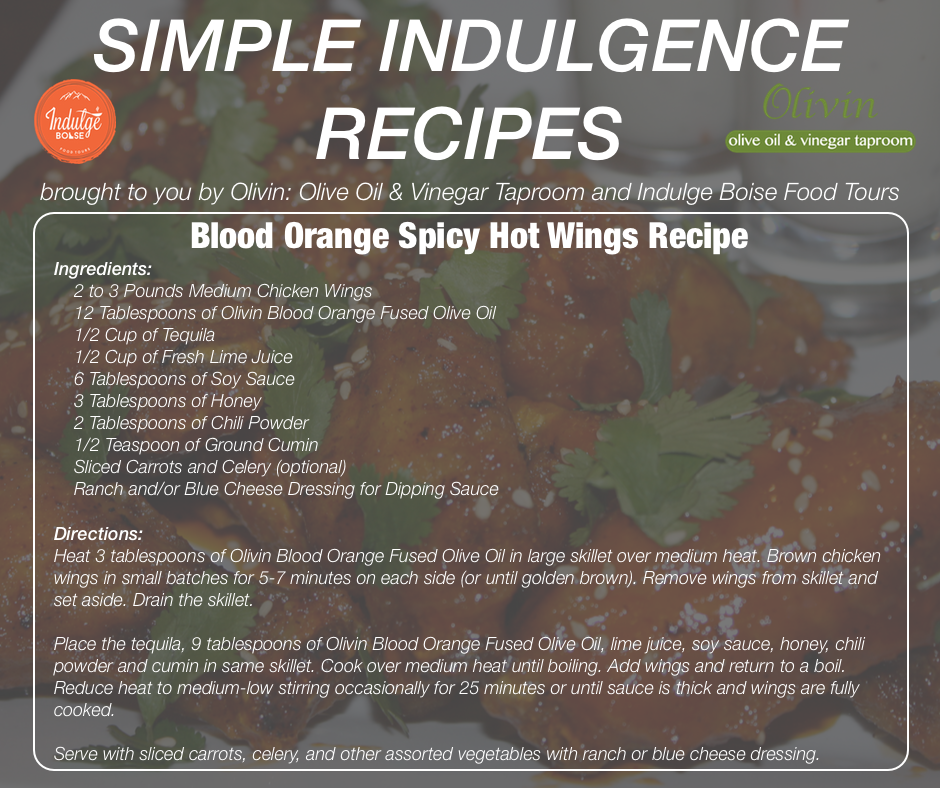 Blood Orange Spicy Hot Wings Recipe provided by Indulge Boise
